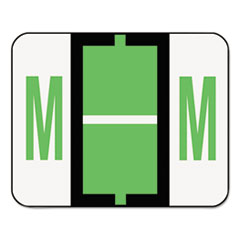 A-Z Color-Coded Bar-Style End Tab Labels, Letter M, Light Green, 500/Roll