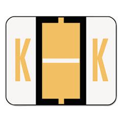 A-Z Color-Coded Bar-Style End Tab Labels, Letter K, Light Orange, 500/Roll