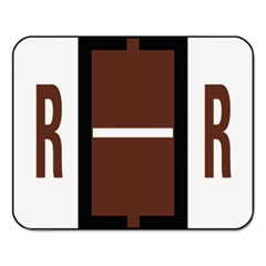 A-Z Color-Coded Bar-Style End Tab Labels, Letter R, Brown, 500/Roll