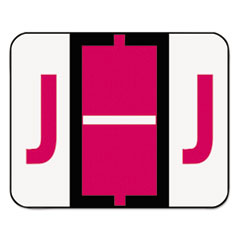 A-Z Color-Coded Bar-Style End Tab Labels, Letter J, Red, 500/Roll