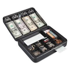 Hercules Cash Box, Keylock, Coin and Cash, 11 7/8 x 9 1/2 x 3 3/4, Charcoal Gray