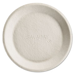 Savaday Molded Fiber Plate, 8 Inches, White, Round, Non-Tipping HUH10114CT