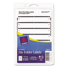 Print or Write File Folder Labels, 11/16 x 3 7/16, White/Black Bar, 252/Pack