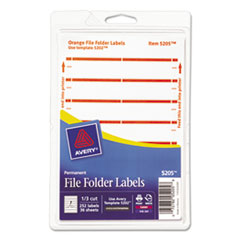 Print or Write File Folder Labels, 11/16 x 3 7/16, White/Orange Bar, 252/Pack