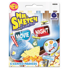 Scented Watercolor Marker, Chisel Tip, 6 Movie Night Colors, 6/Set
