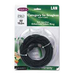 CAT5e Snagless Patch Cable, RJ45 Connectors, 50 ft., Black