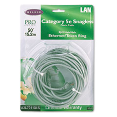 CAT5e Snagless Patch Cable, RJ45 Connectors, 50 ft., Gray