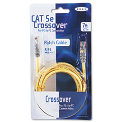 CAT5e Crossover Patch Cable, RJ45 Connectors, 7 ft., Yellow