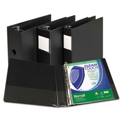 "Clean Touch Locking D-Ring Reference Binder, Antimicrobial, 1"" Cap, Black"
