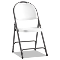 Molded Resin Folding Chair, White/Black Anthracite, 4/Carton