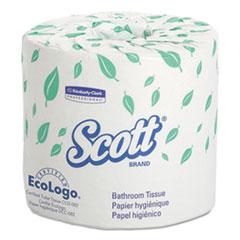 SCOTT Standard Roll Toilet Paper, 1 Ply, 3.8x4 in, 1210 sht/rl, 80 rl/ct KCC05102CT