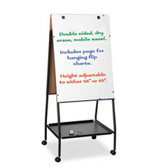 Wheasel Easel Adjustable Melamine Dry Erase Board, 28 3/4 x 59 1/2, White