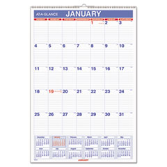 Monthly Wall Calendar with Ruled Daily Blocks, 15 1/2 x 22 3/4, White, 2016