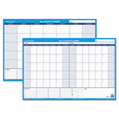 30/60-Day Undated Horizontal Erasable Wall Planner, 36 x 24, White/Blue,
