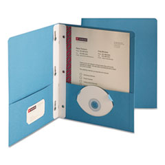 "2-Pocket Folder w/Tang Fastener, Letter, 1/2"" Cap, Blue, 25/Box"