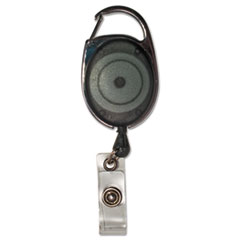 "Carabiner-Style Retractable ID Card Reel, 30"" Extension, Smoke, 12/Pack"