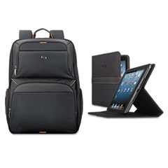 "Urban Backpack/Tablet Case Bundle, 17.3"", 12 1/2 x 8 1/2 x 18 1/2, Black/Orange"
