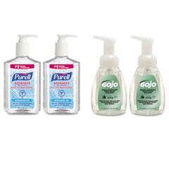 Advanced Hand Sanitizer/Hand Soap Kit, 8 oz Sanitizer, 7.5oz Cleanser GOJ9652SSEC