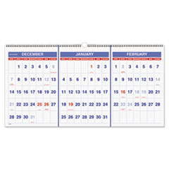 Horizontal-Format Three-Month Reference Wall Calendar, 23 1/2 x 12, 2015-2017