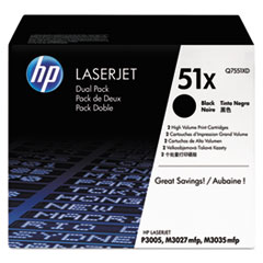 HP 51X, (Q7551X-D) 2-pack High Yield Black Original LaserJet Toner Cartridges