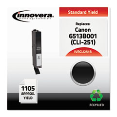 CLI251B Compatible Reman 6513B001 (CLI-251B) Ink, 1105 Page-Yield, Black