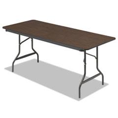 Economy Wood Laminate Folding Table, Rectangular, 72w x 30d x 29h, Walnut ICE55324