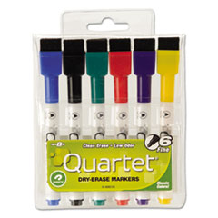 Low-Odor ReWritables Dry Erase Mini-Marker Set, Fine Point, Classic, 6/Set