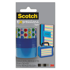 "Expressions Magic Tape, 3/4"" x 300"", Assorted Dots, 3/Pack"