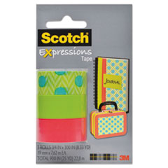 "Expressions Magic Tape, 3/4"" x 300"", Assorted Zig Zags & Polka Dots, 3/Pack"