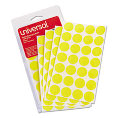 "Self-Adhesive Removable Color-Coding Labels, 3/4"" dia, Yellow, 1008/Pack"