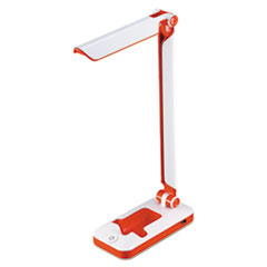 "PureOptics LED Desk Light w/Phone Dock, 2 Prong, 17 1/2"", White/Red BOSLED3FOLDWHRD"
