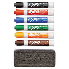 Dry Erase Marker & Organizer Kit, Chisel Tip, Assorted, 6/Set