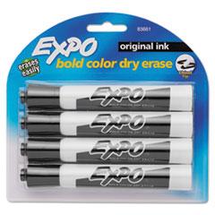 Dry Erase Markers, Chisel Tip, Black, 4/Pack