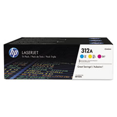 HP 312A, (CF440A-M) 3-pk Cyan/Magenta/Yellow Original LaserJet Toner Cartridges
