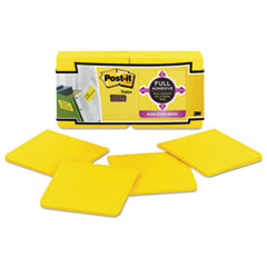 Full Adhesive Notes, 3 x 3, Electric Yellow, 25-Sheet, 12/Pack