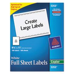 Copier Full-Sheet Labels, 8 1/2 x 11, White, 100/Box