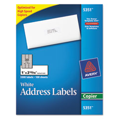 Copier Address Labels, 1 x 2 13/16, White, 3300/Box