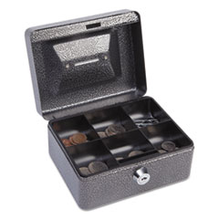 "Hercules Cash Box, Keylock, Coin and Stamp, 6"" x 4 5/8"" x 3"", Charcoal Gray"