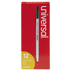 Economy Ballpoint Stick Oil-Based Pen, Black Ink, Fine, Dozen