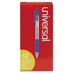 Economy Retractable Ballpoint Pen, Blue Ink, Clear, 1mm, Dozen