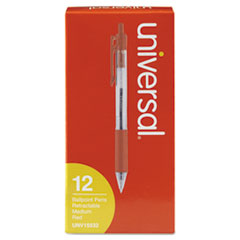 Economy Retractable Ballpoint Pen, Red Ink, Clear, 1mm, Dozen