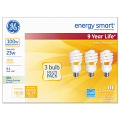 Energy Smart Compact Fluorescent Light Bulb, 1650 lm, 120 V, Soft White, 3/Pack