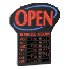 LED Open Sign w/Digital Business Hours, 20 1/2 x 1 1/4 x 23 1/2, Black
