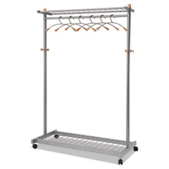 TWO-SIDED, TWO-SHELF COAT RACK, SIX HANGERS/SIX HOOKS,