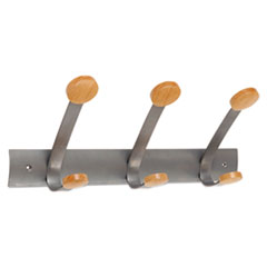 Wooden Coat Hook, Three Wood Peg Wall Rack, Brown/Silver