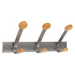 Wooden Coat Hook, Three Wood Peg Wall Rack, Brown/Silver ABAPMV3