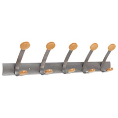 Wooden Coat Hook, Five Wood Peg Wall Rack, Brown/Silver