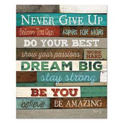 Motivational Poster, 16 x 20,   Never Give Up  , Dark Walnut