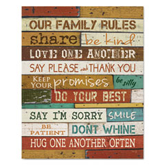 Motivational Poster, 16 x 20,   Our Family Rules  , Dark Walnut