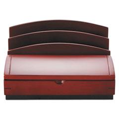 Desk Organizer, Three Sections, Wood, 10w x 5 1/2d x 8 1/2h, Mahogany ROL19290